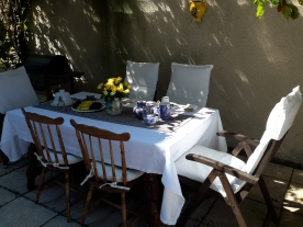 eating on the terrace